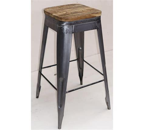 chaise en m tal tabouret de bar pin massif fer 4262