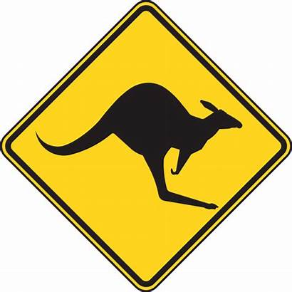 Warning Sign Clip Kangaroo Svg Clker Domain