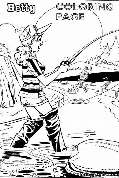 Coloring Pages Betty Fishing Veronica Fly Archie