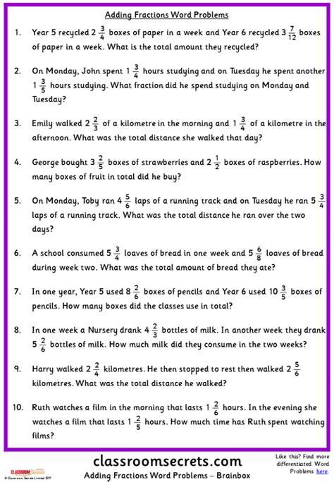 fraction word problems  worksheets worksheets