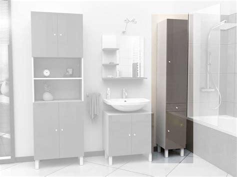 colonne de salle de bain 2 portes 1 tiroir soramena coloris taupe image casa d 233 coration