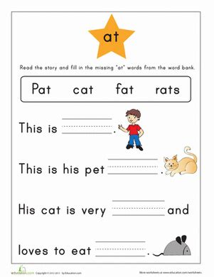 word family story at worksheet education