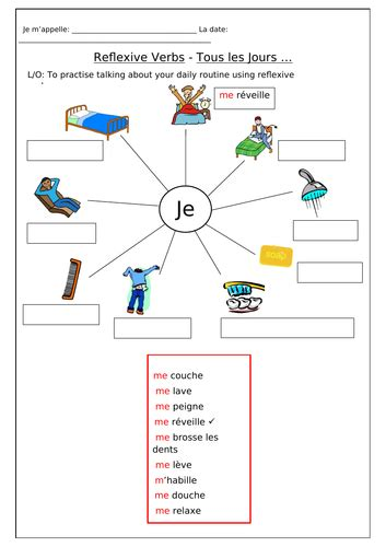 french reflexive verbs tous les jours worksheets