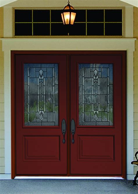 Exterior Design: Brown Wooden Therma Tru Doors With Black