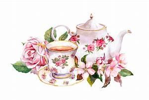 Teacup, Tea Pot With Flowers. Vintage Card. Watercolor ...
