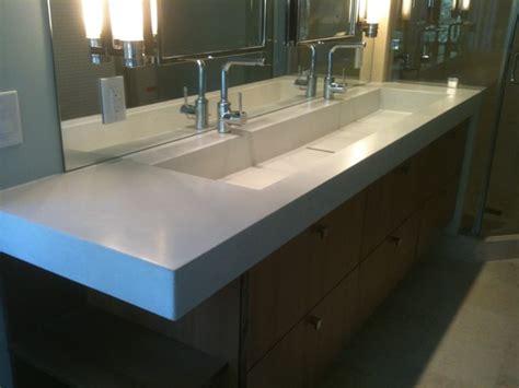 concrete trough sink contemporary bathroom