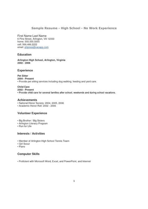 Work Resume Sle by High School Student Resume Sle No Experience 14581 High
