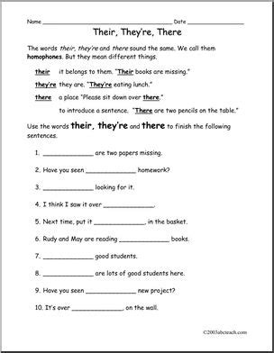 There, They're, Their (elem) Worksheet I Abcteachcom Abcteach