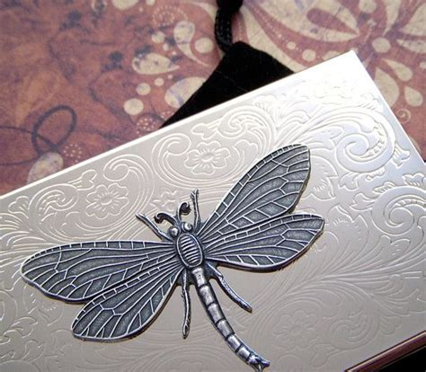 fancy dragonfly business card case silver plated metal