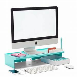 Poppin aqua monitor riser modern desk accessories cool for Cool office gear