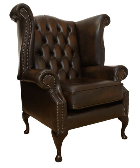 queen anne high  leather wing chair creative