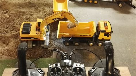 rc excavator cat   joysticks youtube