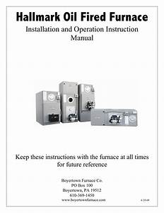 Hallmark Oil Fired Furnace Installation And Operation