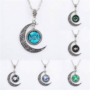 Fashion charm Triple Moon Goddess Wiccan Star Moonstone ...