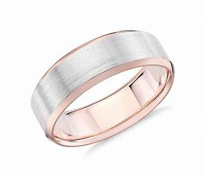 brushed beveled edge wedding ring in 14k white and rose With wedding rings with rose gold and white gold