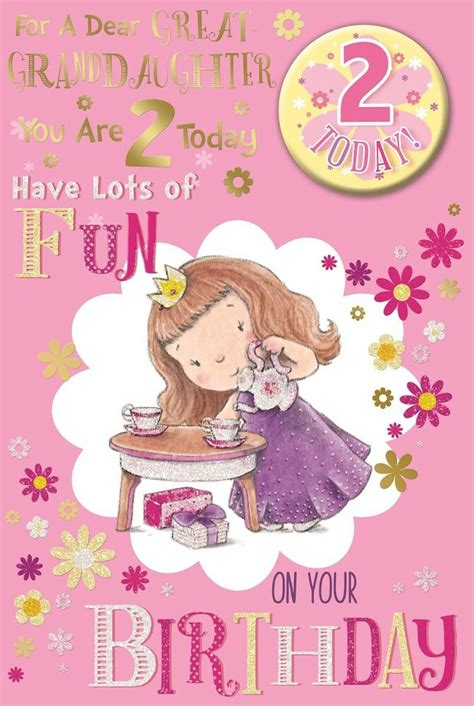 Birthday Card Image 2 by Great Granddaughter 2nd Birthday Card Badge 2 Today
