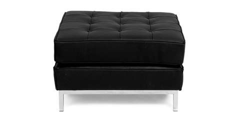 Real Leather Ottoman - florence knoll style ottoman black genuine leather ebay