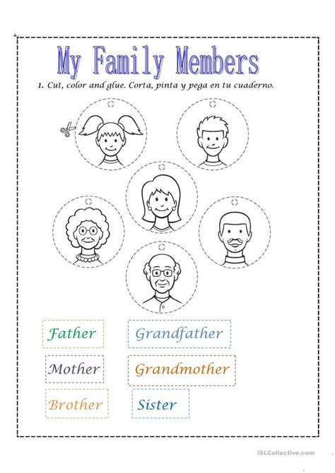 family members imprimibles  preescolar ingles