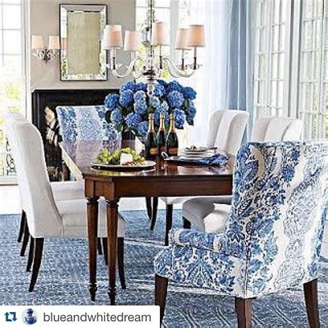Blue And White Dining Room With Great Head Chairs Dining