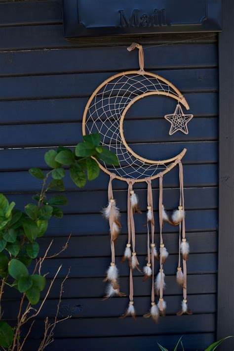 Rattan Crescent Moon Dreamcatcher   Earthbound Trading Co.