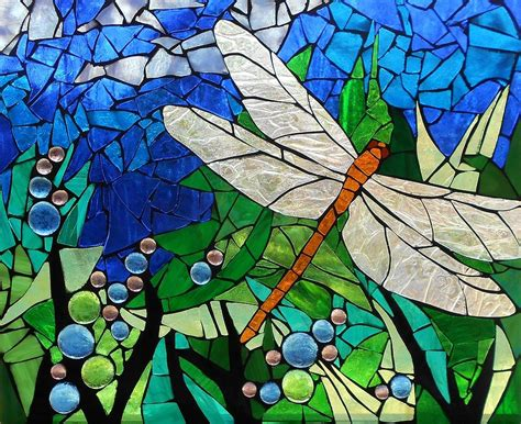 Mosaic Stained Glass - Golden Brown Dragonfly Glass Art by ...
