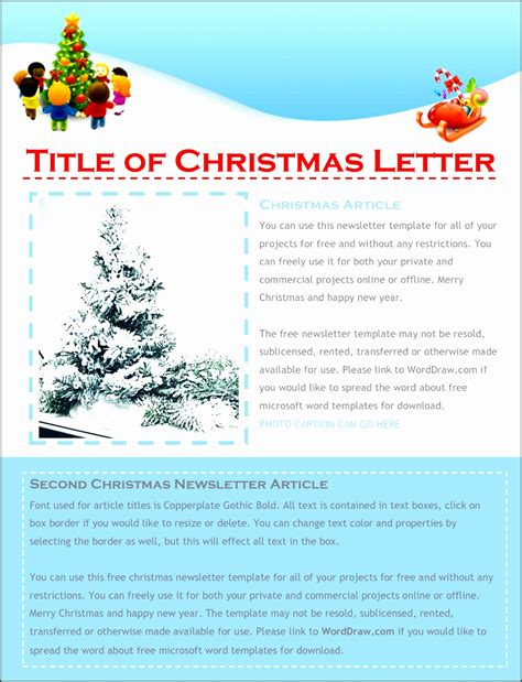 christmas letter templates  word