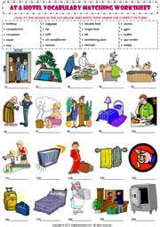 hotel vocabulary matching exercise worksheet icon