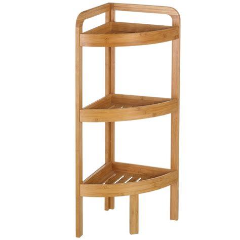 mobile scaffale mobile scaffale angolare 3 ripiani in legno bambu per