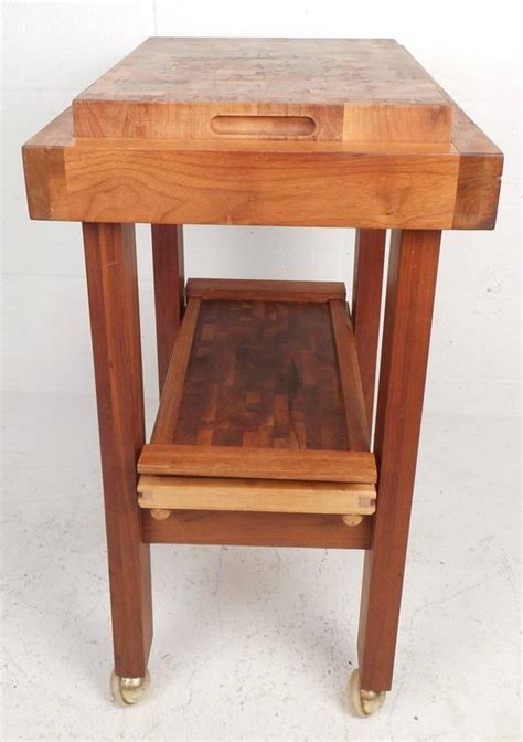 Midcentury Modern Style Butcher Block Rolling Cart At 1stdibs