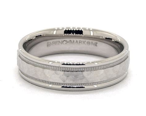 wedding rings mens carved platinum 6mm comfort fit hammered milgrain band item 63708