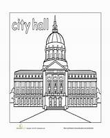 Town Hall Coloring Paint Worksheet Pages Preschool Worksheets Places Buildings Education Printable Drawing Printables English Community Building Office Colour Sheets sketch template