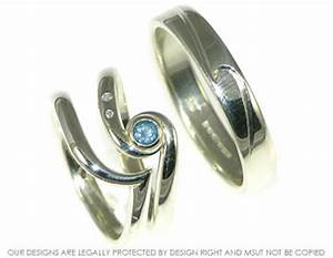 bespoke ocean inspired engagement ring with matching With ocean wedding rings