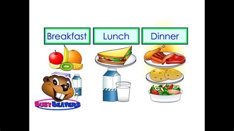 desayuno comida  cena ingles nivel  leccion  clip