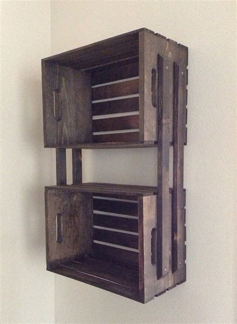 brown wooden crate wall hanging  shelf fixture great