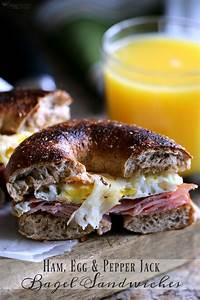 Ham, Egg & Pepper Jack Bagel Sandwiches | Cozy Country Living