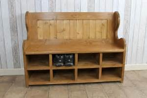 Bench With Shoe Rack Handmade In Pine Bespoke Monks Bench