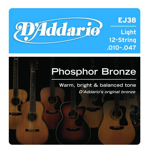 d addario acoustic guitar strings ej38 light phosphor