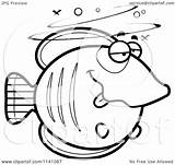 Drunk Cartoon Butterflyfish Clipart Coloring Vector Outlined Cory Thoman Template sketch template