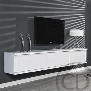 Meuble Sous Tv Suspendu : meuble tv suspendu laqu blanc design achat vente meuble tv meuble tv suspendu laqu bl ~ Teatrodelosmanantiales.com Idées de Décoration
