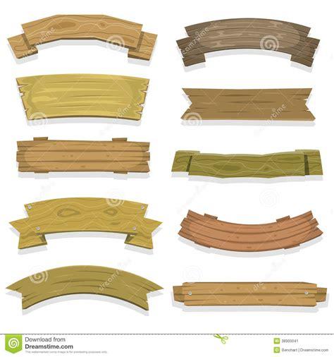cartoon wood banners  ribbons stock vector image