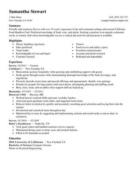 resume for restaurant server servers resume exle restaurant bar sle resumes livecareer