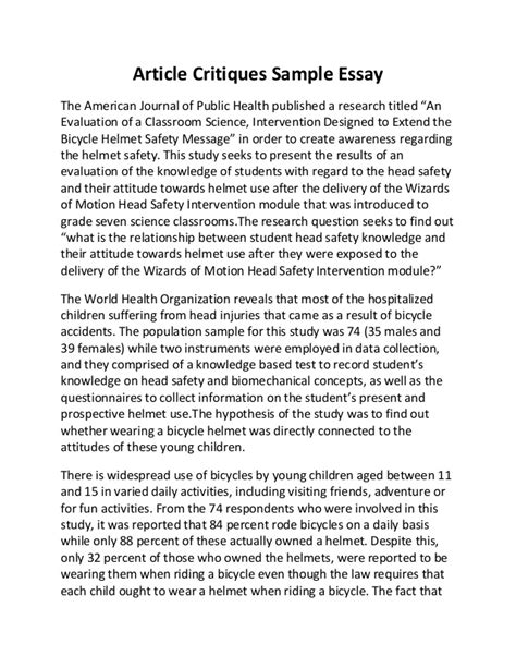 Here is a really good example of a scholary research critique written by a student in edrs 6301. Article critiques sample essay