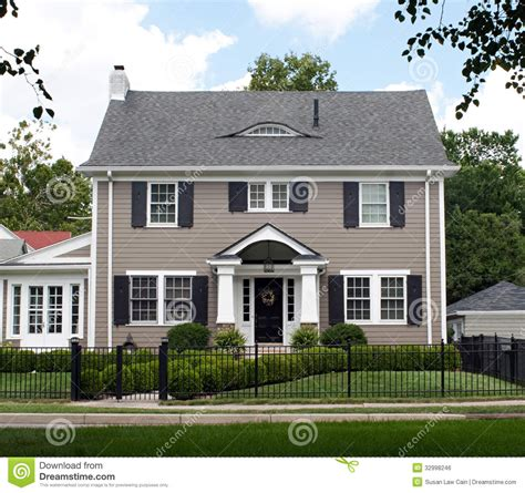 Stately Two Story House Stock Photo Image Of Front, Blue