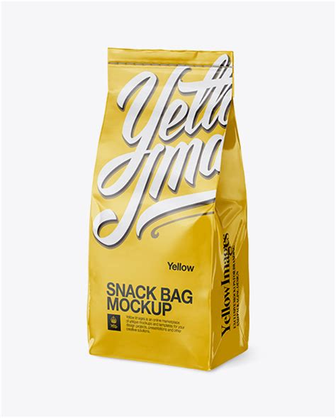 The biggest source of free photorealistic bag mockups online! Glossy Paper Snack Bag Mockup - Half Side View - Glossy ...