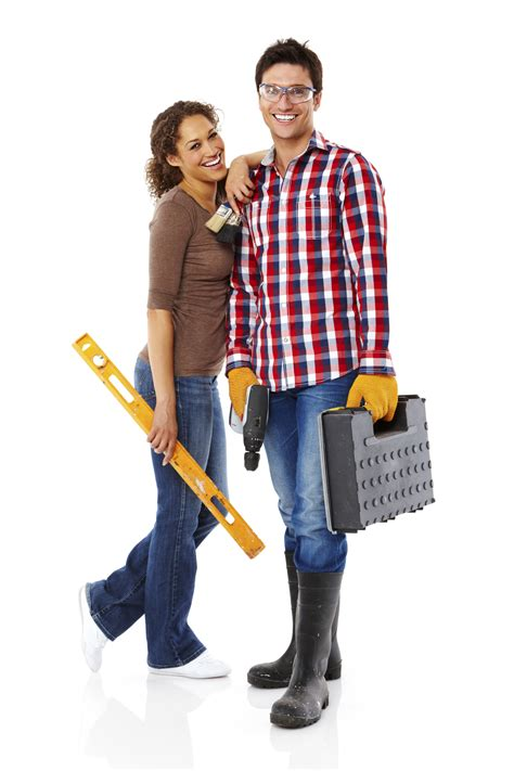 young couple  home repairs isolated  sight