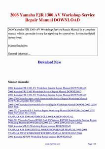 2006 Yamaha Fjr 1300 Av Workshop Service Repair Manual By