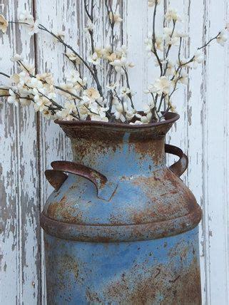 vintage metal milk can blue chippy farm primitive rustic