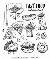 Wok Coloring Fast Pages Template Pizza Donut Sketch Fries Vector Hamburger French Drawn Illustration Hand sketch template