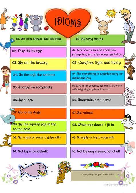 idioms  worksheet  esl printable worksheets