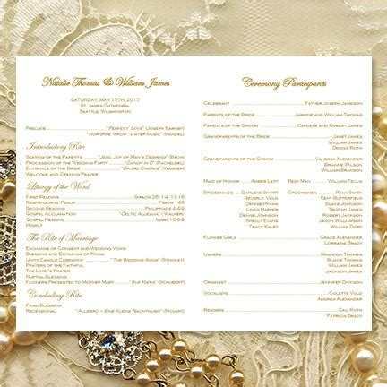 catholic church wedding program vintage lace gold